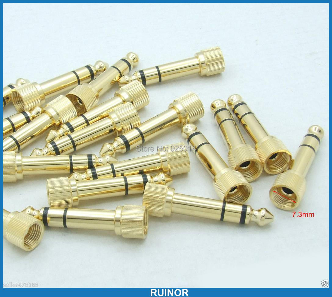 ФОТО 20PC 24K gold plated 635mm TO 35mm jack PLUG for DJ Headphones Power Amplifier