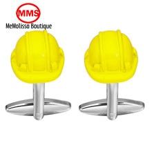 MeMolissa Brand yellow Safety hat Cufflinks High Quality for Mens Shirt Wedding Party Cuff Links