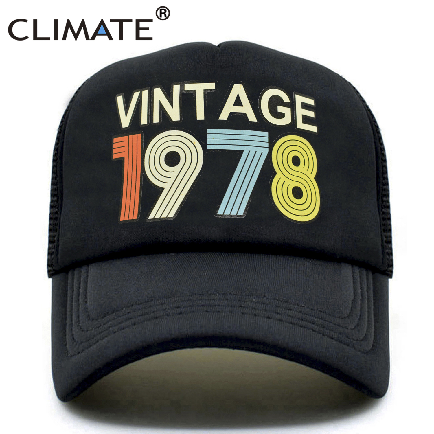 CLIMATE 1978   Cap   Vintage 1978 Vintage Trucker   Cap   Men Retro 40th Birthday Gift   Baseball     Caps   Black Cool Trucker   Caps   Hat for Men