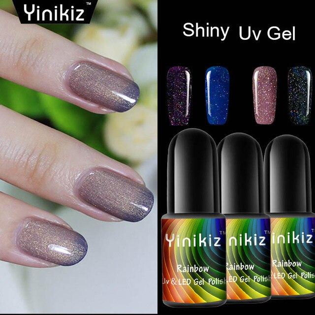 Yinikiz Bright Shiny Neon Color Led Gel Nail Polish Glitter Red