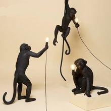 SELETTI Современная черная обезьяна пеньковая веревка животных лампа в форме обезьяны гостиная ресторан спальня магазин одежды люстра бра