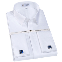 Men S 100 Cotton Non Iron French Cuff Dress Shirts Covered Placket Long Sleeve Regular Fit