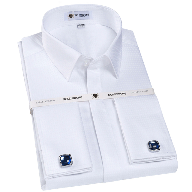 2e32a0f14c US $39.98 |Men's 100% Cotton Non iron French Cuff Dress Shirts Covered  Placket Long Sleeve Regular fit Formal Shirt (Cufflinks Included)-in Dress  ...