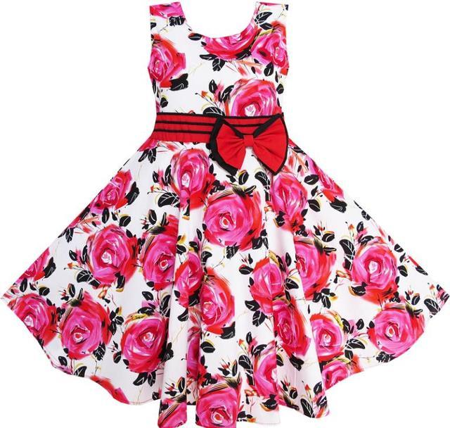 Sunny Fashion Flower Girl Dress Red Rose Party Summer Sundress Cotton Child Clothing 2017 Summer Princess Wedding Size 6-12