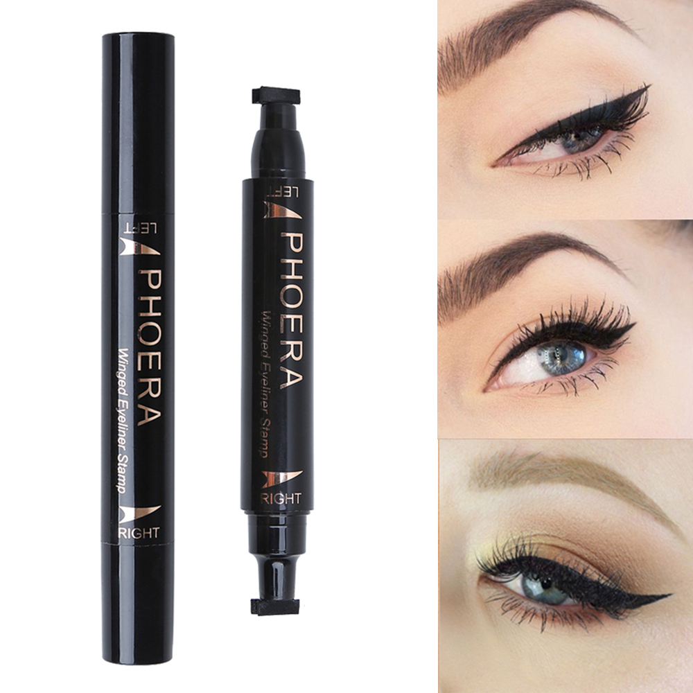 Beauty Essentials 2019 Latest Design Phoera Double End Seal Eyes Liner Black Liquid Make Up Pencil Waterproof Black Double-ended Makeup Stamps Eyeliner Pencil Tslm1 Eyeliner