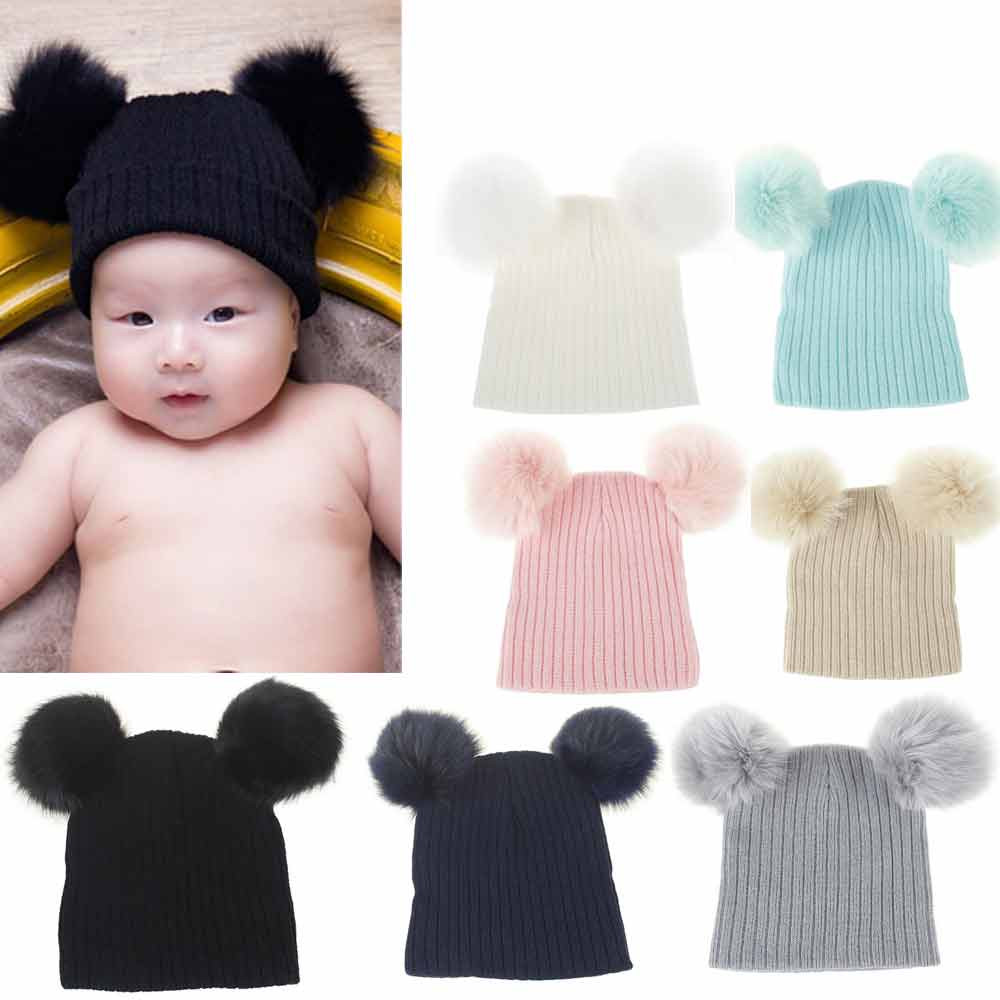 Newborn Cute Fashion Keep Warm Winter Kids Baby Hats Knitted Wool Hemming Hat Adorable Baby Beanie Cap Photo Props 0-36M JY