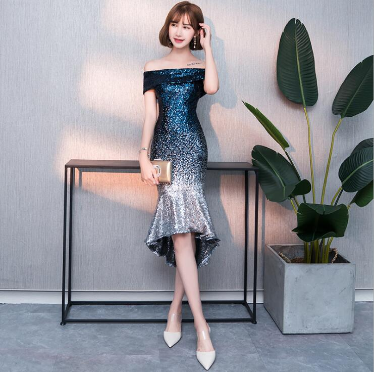 FOLOBE Elegant Short Mermaid Dinner Dress Vintage Sequin Gradient Mermaid Dresses Blue Red Girls Formal Party Dress