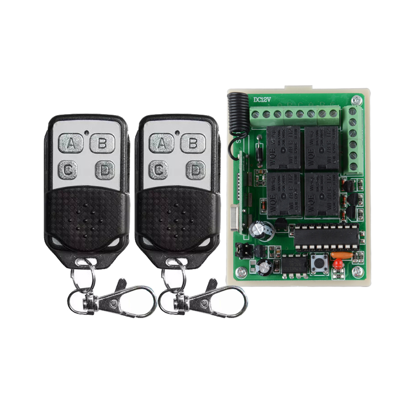 24V 4 Channel RF Wireless Remote Switch Control Light Switch System 4 CH Receiver + 2 Transmitters IN 433.92Mhz 12v 8 ch channel rf wireless remote control switch