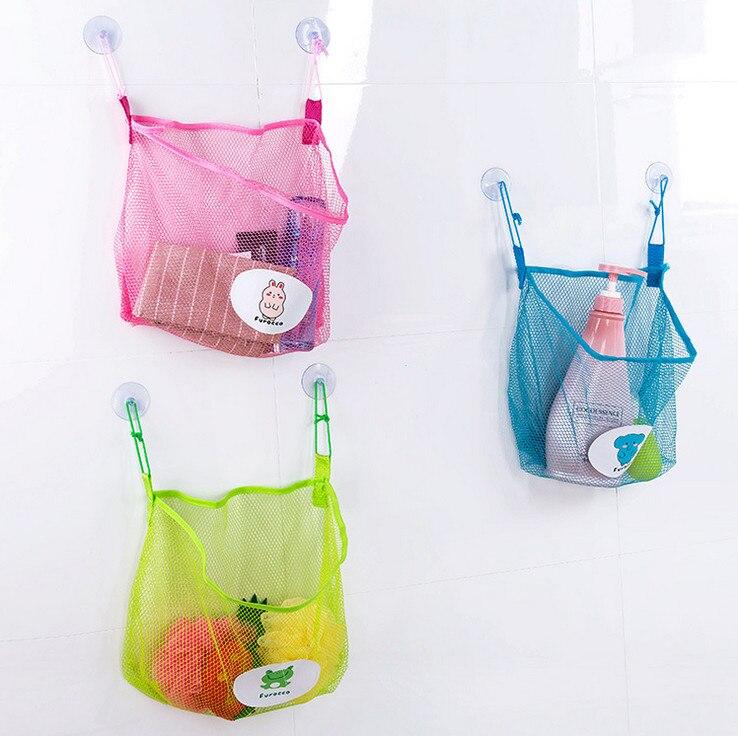 Net Toy Holder : Net sucker hanging storage kids toy organizer bag