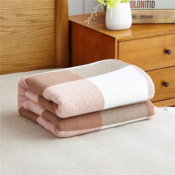 Мягкое Стёганое одеяло в японском стиле, хлопковое покрывало, одеяло для одиночной/двойной кровати, натуральное хлопковое летнее одеяло - Цвет: Pink