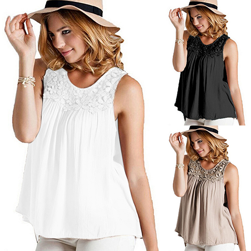 f80b03ff65df Women s Summer Sexy Sleeveless Lace Collar Blouse Back Bandage Vest Tops