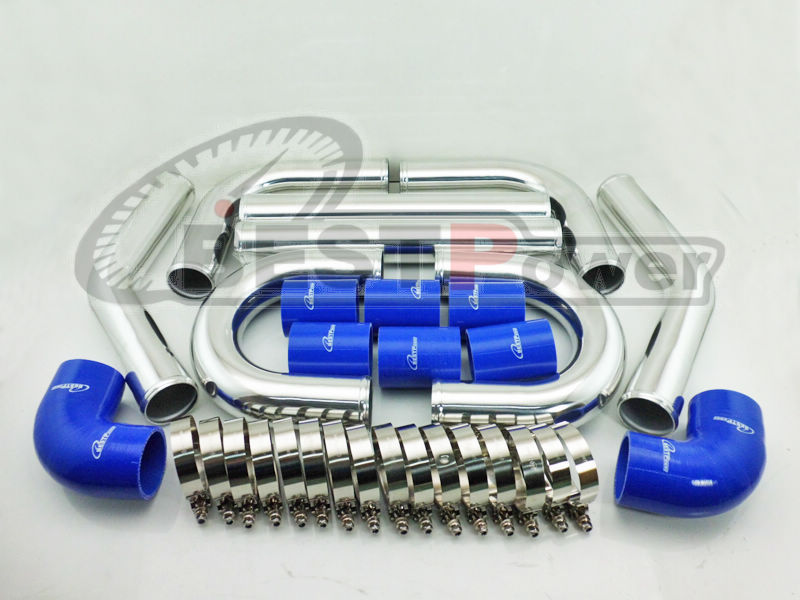 2 5 INCH 63mm UNIVERSAL 2MM THICKNESS ALUMINUM INTERCOOLER TURBO PIPE PIPING KIT