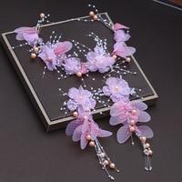 Da sposa rosa headwear orecchini a cerchio due serie di sogno dolce ala principessa accessori per capelli da sposa foglia