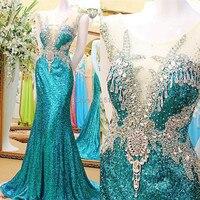 실제 사진 2017 새로운 섹시한 인어 캡 소매 크리스탈 구슬 긴 이브닝 드레스 로얄 블루 드레스 무료 배송 EX18