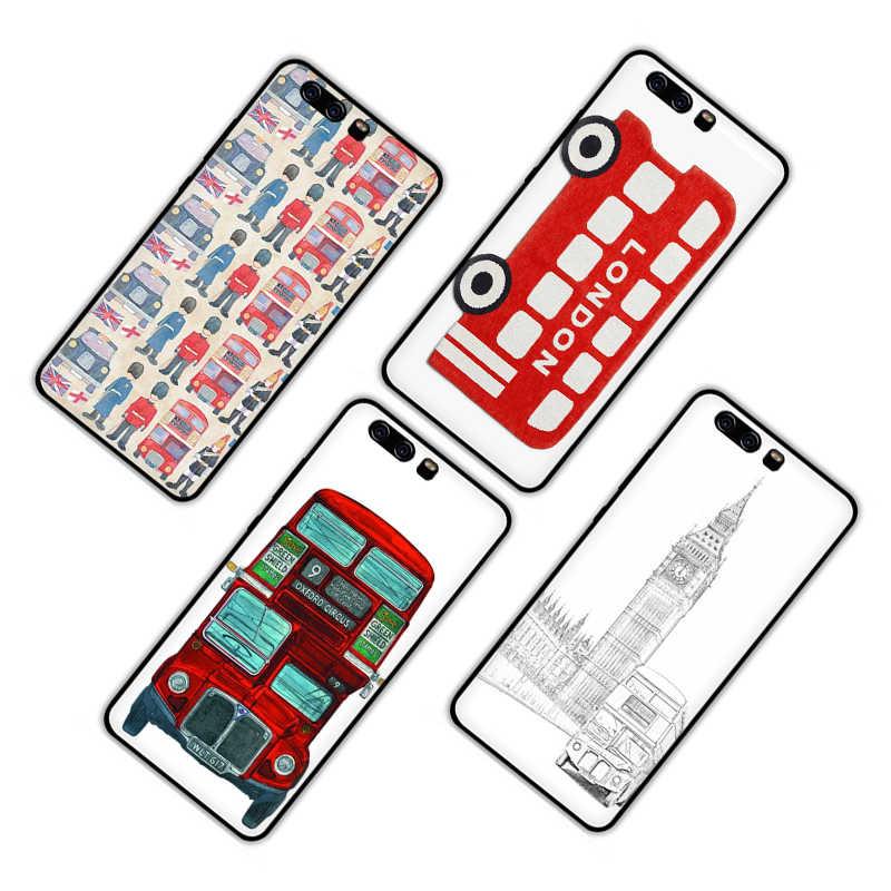 Bus de londres Angleterre Téléphone Silicone Souple Téléphone étui pour huawei P8 P9 P10 P20 P30 Pro Lite Mini P Smart Z Plus