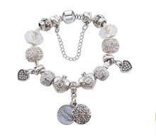 aliexpress hot sale christmas series Antique Silver sweet mother pendant DIY Charm Bracelet Bangle for Women