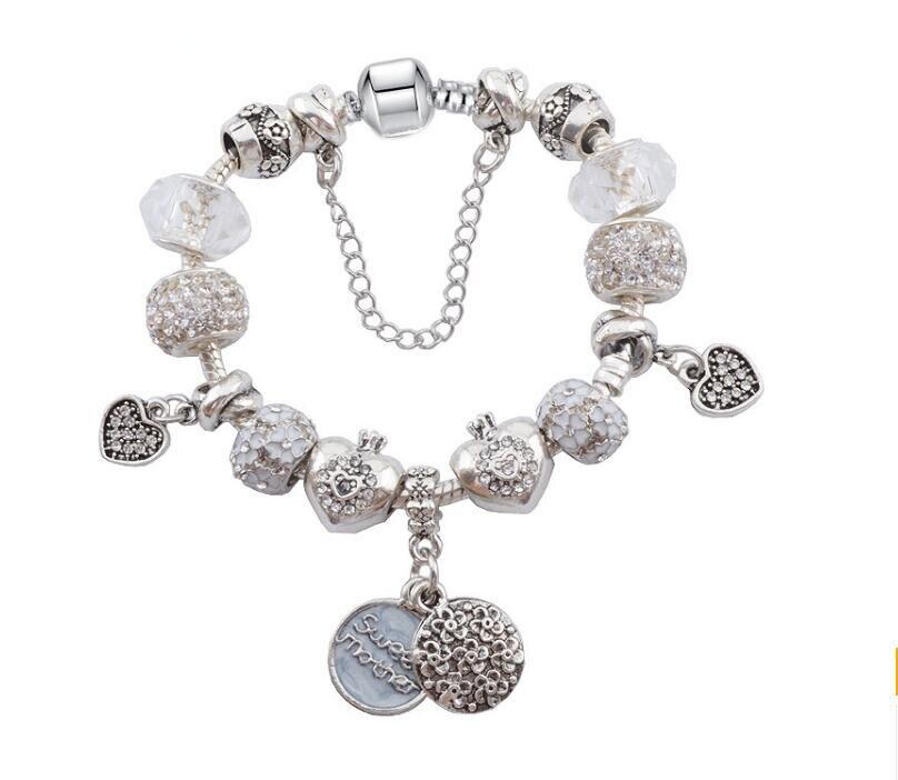 aliexpress hot sale christmas series Antique Silver sweet mother pendant DIY Charm font b Bracelet b