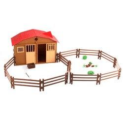 Fazenda Playset Estável Agricultor Conjunto Pretend Play Toy Modelo Cena Jogo Brinquedo Educacional das Crianças do Brinquedo Engraçado para o Menino e menina