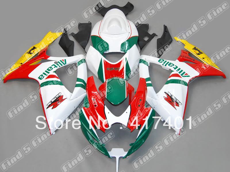 red white green yellow for SUZUKI GSX R600 R750 06-07 GSXR 600 750 GSXR600 GSXR750 GSX-R600 GSX-R750 K6 06 07 2006 2007 fairing