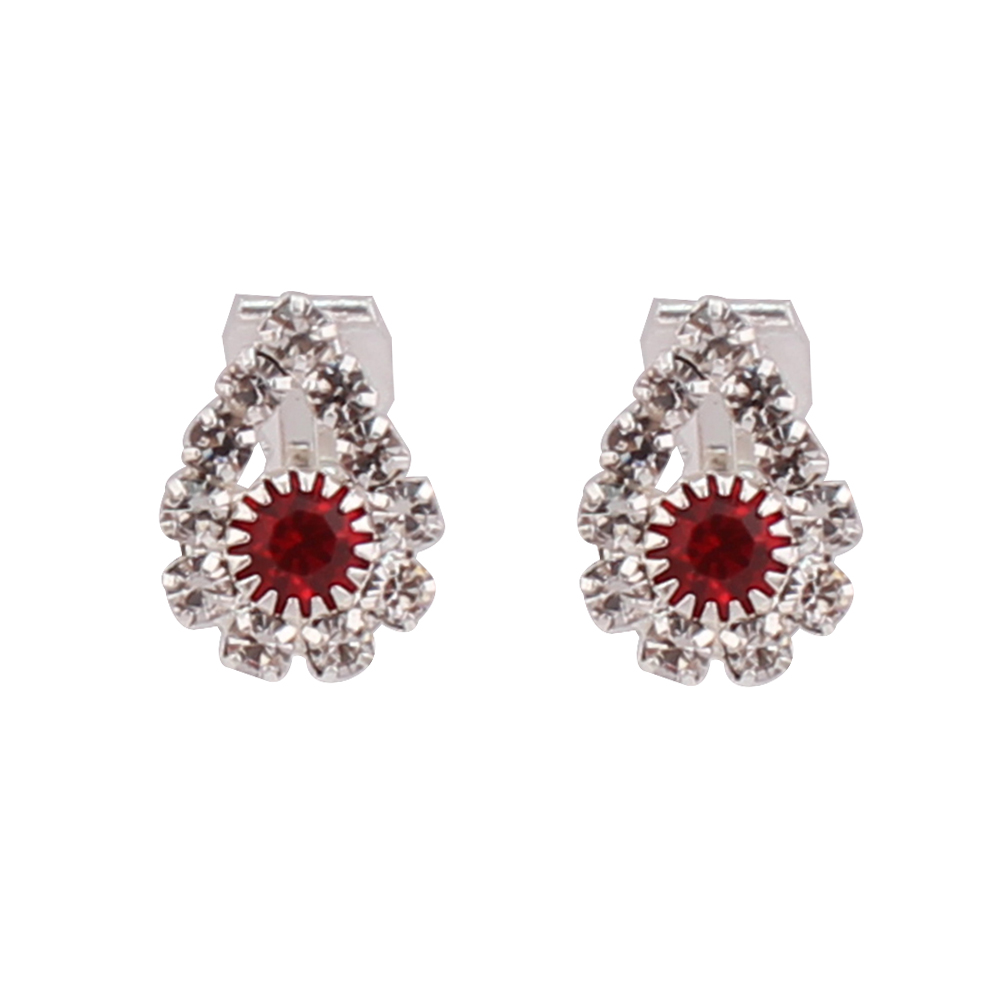 GRACE JUN Rhinestone Crystal Heart Crown Geometric Clip on Earrings No Pierced for Gril Kids Fashion Cute Ear Clip No Allergy