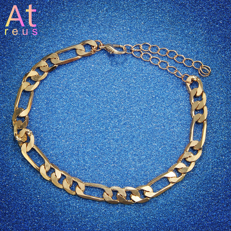 Vintage Gold Cuba Link Chain Anklets For Women Men Ankle Bracelet Fashion Beach Accessories Jewelry 2019 Saddle Chain image