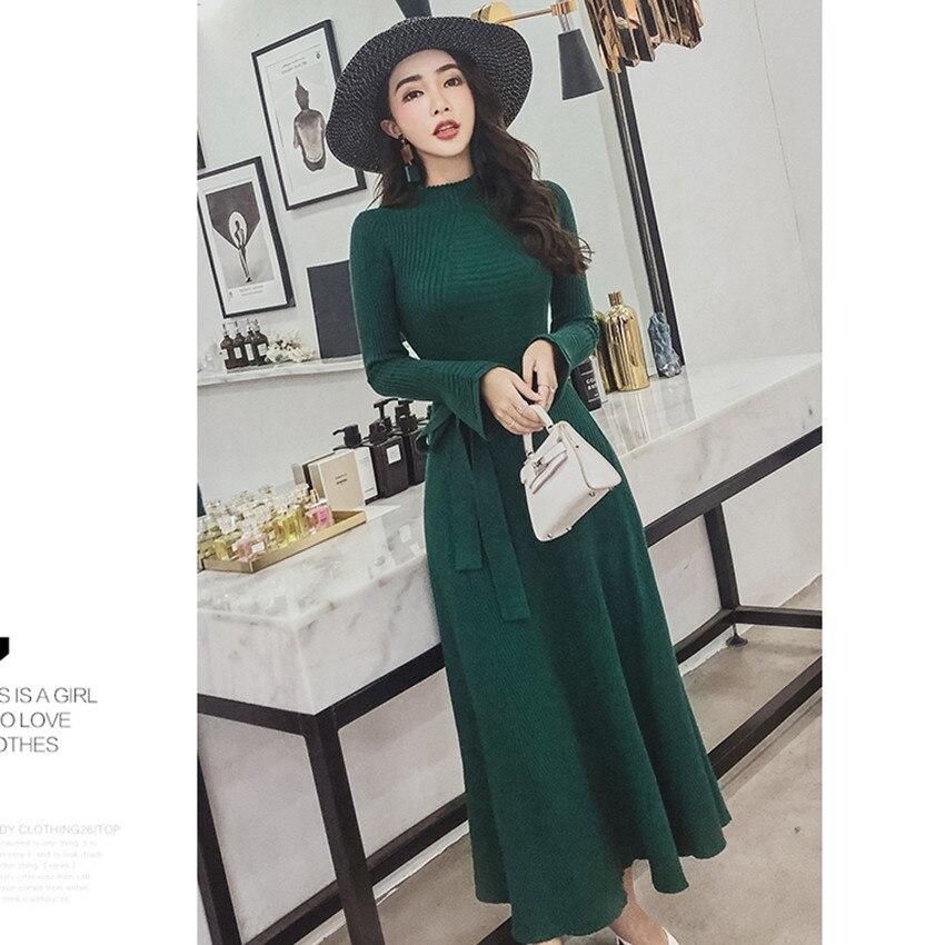 ... Maglioni Lungo 2018 A Lavorato Alta Autunno Robe Delle Femme light  green brown Qualità Di Black ... cafe14361bd