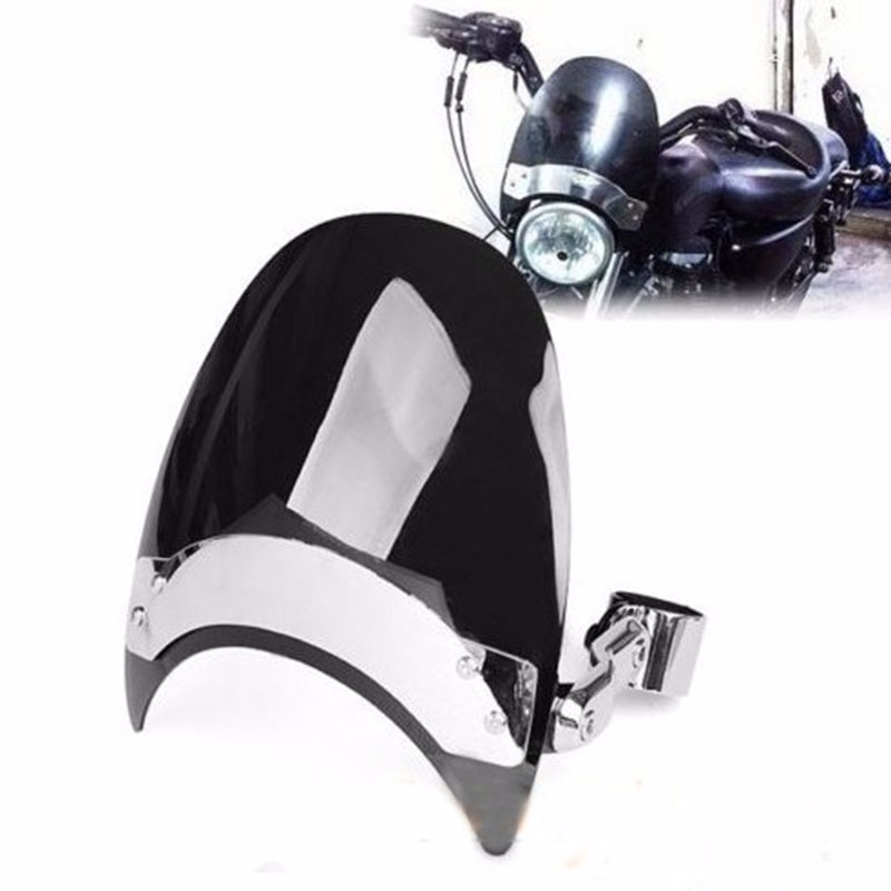 купить New Black Dark Tint For Harley Sportster 38-45mm Motorcycle Windscreen Windshield FM по цене 3136.04 рублей