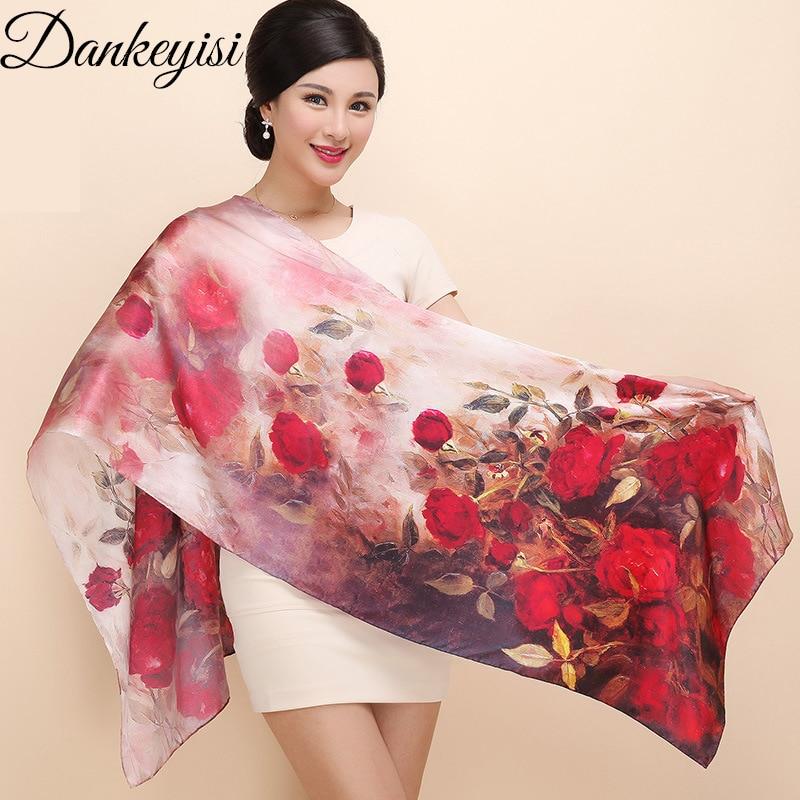 DANKEYISI Ženske svilene šal šal spomladanske jeseni ženske pristne svilene šal dolge tiskane šalke na plaži 172 * 55cm