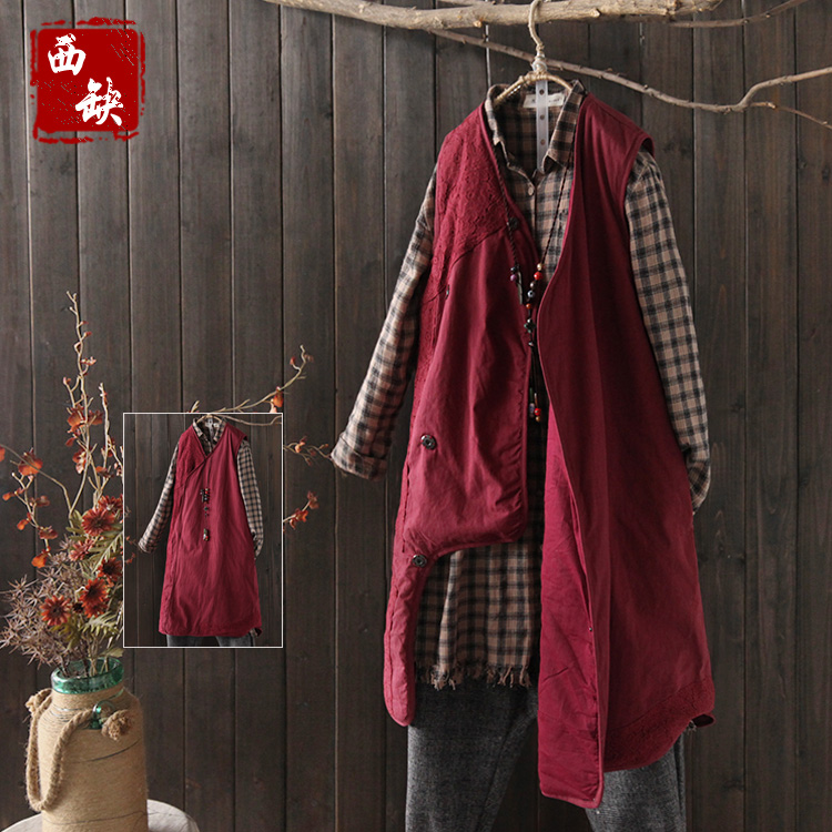 2017 new cotton and linen Vintage cutout crochet lace fluid cotton-padded vest outerwear female autumn and winter thermal new elastic cotton and linen male