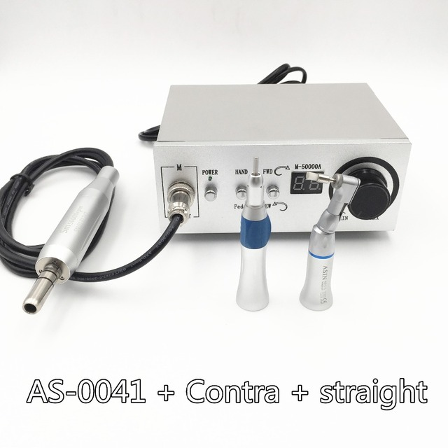 2016 NEW 50,000 RPM Brushless Dental Micromotor Polishing Unit with contra angle + straight handnpiece dental micro motor
