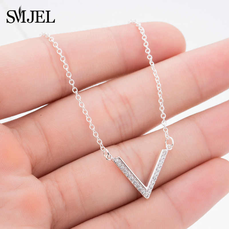 SMJEL  V Letter Triangle Shape Charm Necklaces for Women Triangle Chevron Crystal Necklaces Party Jewelry Choker Gifts N322
