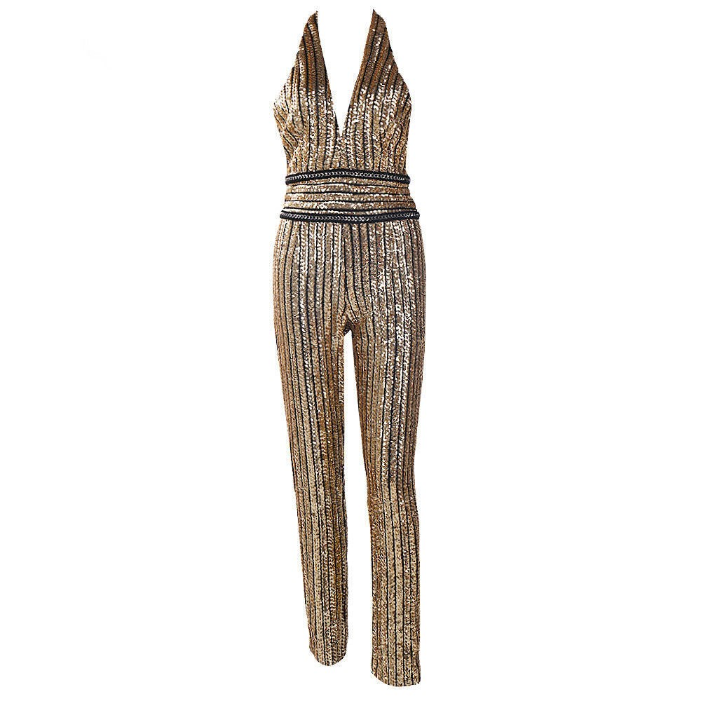 Women Halter Deep V Neck Slim Overalls Spaghetti Straps Sexy Backless Rompers Sequined Sleeveless Sequin Jumpsuit
