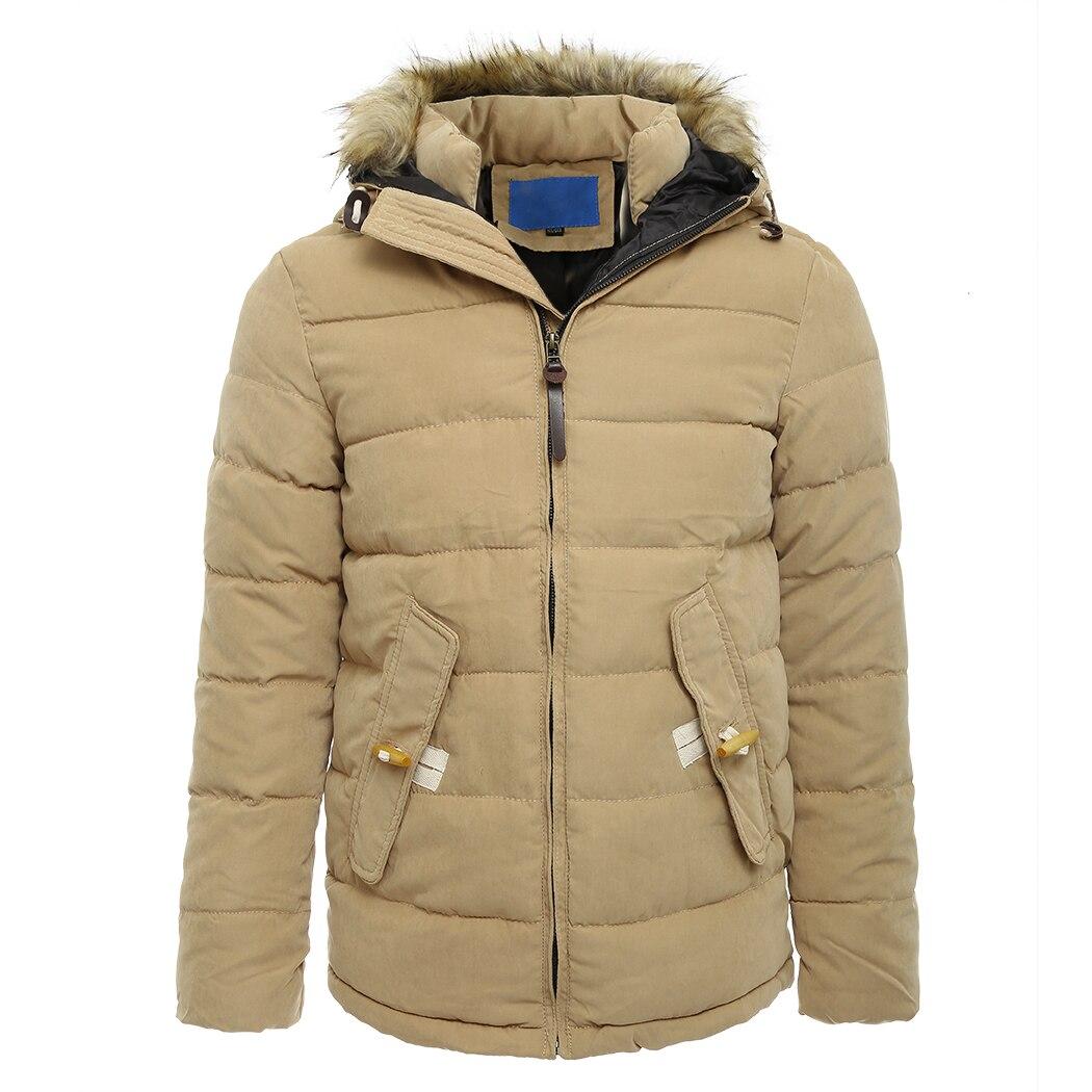 Mode Winter Mannen Hooded Bontkraag Jas Luxe Kasjmier Jas Katoenen Jas Dikke Warme Uitloper Parka Slim Jassen Plus Size