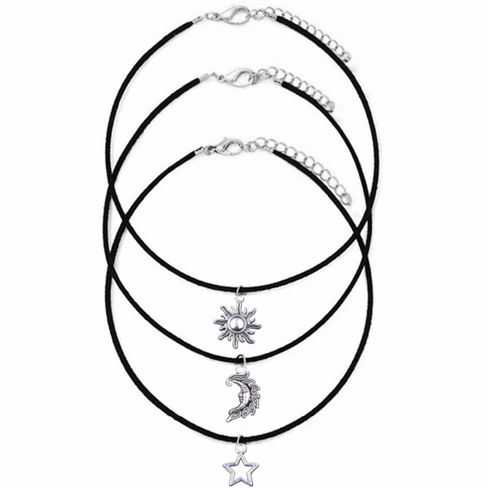 <font><b>Sun</b></font> <font><b>Moon</b></font> <font><b>Star</b></font> sets 3 unids chokers necklaces Pendants of the Alloy for Maxi necklaces hot selling unisex Necklace sets Punk N204