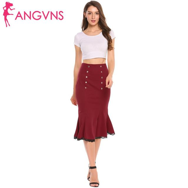 ANGVNS Party Slim Mermaid Pencil Midi Skirt Womens Summer Vintage High Waist Elastic Work Office Women Hip Fishtail Skirt Button