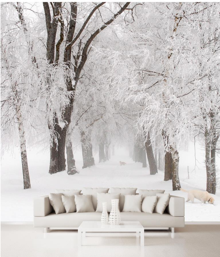 Home Decoration 3d Customized Wallpaper Space Snow Tree Wallpapers For Living Room 3d Wall Murals Wallpaper Custom Wallpaper Wallpapers For Living Roomtree Wallpaper Aliexpress