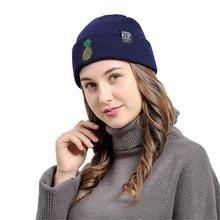 KLV Autumn Spring Fashion Sretchy Soft Pineapple Embroidered Men Women Baggy Wool Knit Ski Beanie Hat Comfortable Stretch
