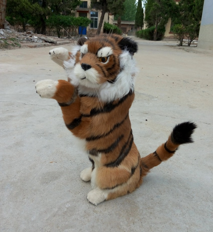 large 45x26 cm simulation tiger toy lifelike tiger model, prop, home decoration gift t194 simulation animal large 28x26cm brown fox model lifelike squatting fox decoration gift t479