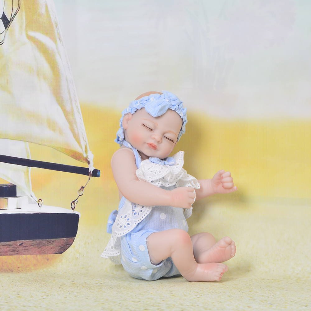 So Truly Like Sleeping Girl Baby Doll 11 Inch Full Body Silicone 27 cm Realistic Mini Reborn Doll Waterproof Kids Birthday Gifts