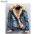 2016 Winter Mens Casual Ripped Denim Jacket With Fur Collar Men Jean Coat Jacket Outwear Wool Thick Clothes Plus Size
