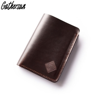 Gathersun Men Wallet Genuine Leather Short Bi fold Flip up Card Wallet with Coin Pocket High Quality Multi functional Male Purse