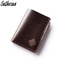 цена на Handmade High Quality Vintage Designer 100%Genuine Crazy Horse Cowhide Leather Men Short Wallet Purse Male With Coin Pocket