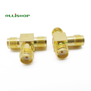 100Pcs SMA Female to Two SMA Female Triple T RF Adapter connector 3 Way Splitter SMA Jack to Double SMA Jack RF Coax Connector