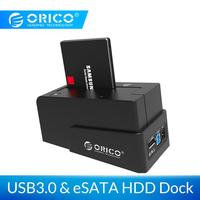 ORICO 2.5/3.5 นิ้วฮาร์ดไดรฟ์ภายนอก Enclosure HDD Docking Station Super Speed USB3.0 & eSATA HDD Case 12V Power Adapter