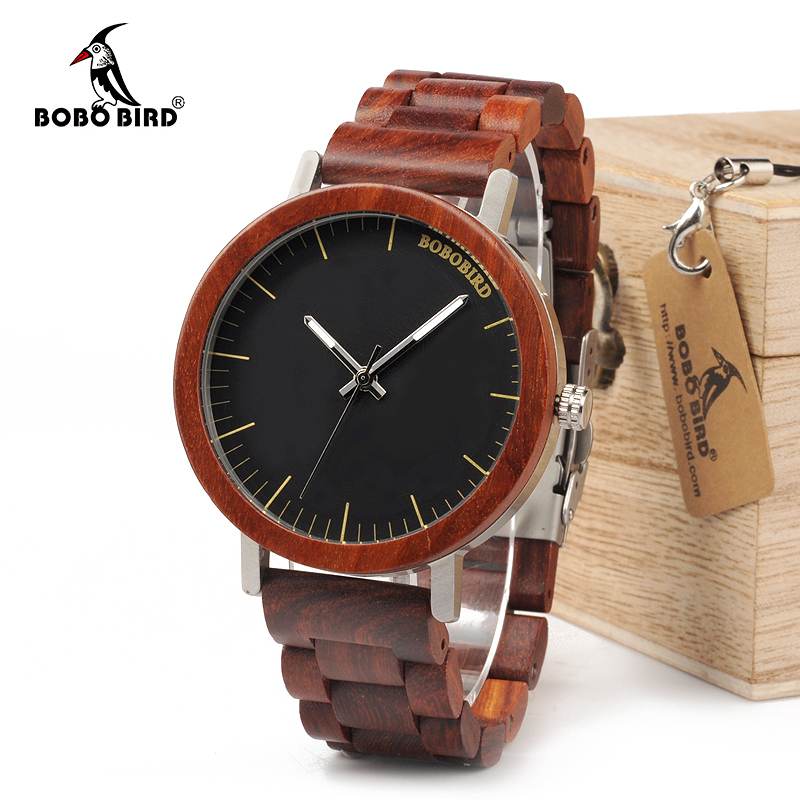 BOBO BIRD WM16 Brand Design Rose Wooden Watch for Men Cool Metal Case Wood Strap Quartz Watches Luxury Unisex Gift