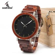 BOBO BIRD WM16 Reloj de madera rosa para hombre, correa de madera con caja de Metal, relojes de cuarzo, regalo Unisex de lujo