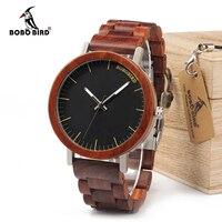 BOBO BIRD 2017 Newest Brand Design Rose Wooden Watch For Men Cool Metal Wood Case Quartz