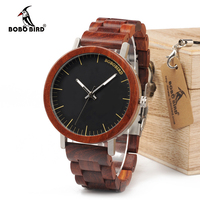 BOBO BIRD 2017 Newest Brand Design Rose Wooden Watch For Men Cool Metal Wood Case Quartz