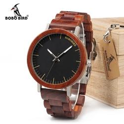 Bobo pássaro wm16 design da marca rosa relógio de madeira para homens legal caixa de metal pulseira de madeira relógios de quartzo luxo unisex presente