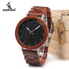 ボボ鳥 WM16 ブランドデザインローズ木製腕時計男性のための金属ケース木製ストラップクォーツ腕時計高級ユニセックスギフト